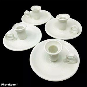 Ceramic Chamber Candle Holder Ivory Lot of 4